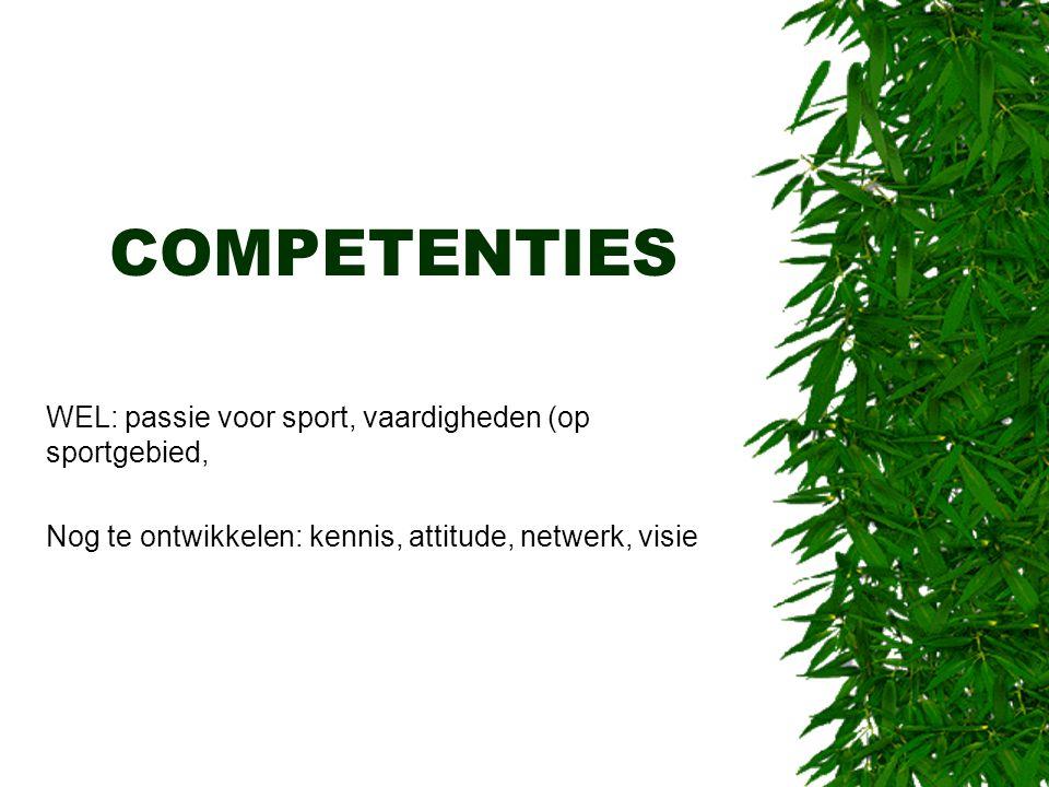 COMPETENTIES WEL: passie voor sport, vaardigheden (op sportgebied, Nog te ontwikkelen: kennis, attitude, netwerk, visie