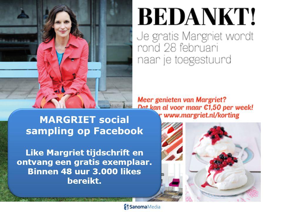 MARGRIET social sampling op Facebook Like Margriet tijdschrift en ontvang een gratis exemplaar. Binnen 48 uur 3.000 likes bereikt. MARGRIET social sam
