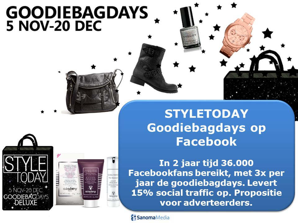 STYLETODAY Goodiebagdays op Facebook In 2 jaar tijd 36.000 Facebookfans bereikt, met 3x per jaar de goodiebagdays. Levert 15% social traffic op. Propo