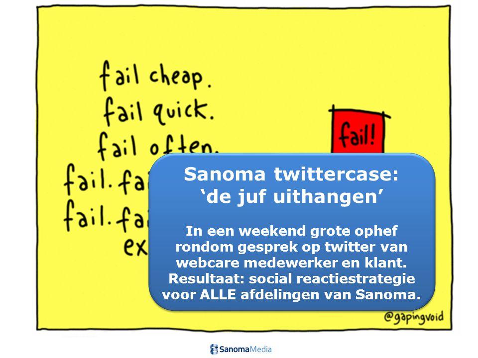 Sanoma twittercase: 'de juf uithangen' In een weekend grote ophef rondom gesprek op twitter van webcare medewerker en klant. Resultaat: social reactie