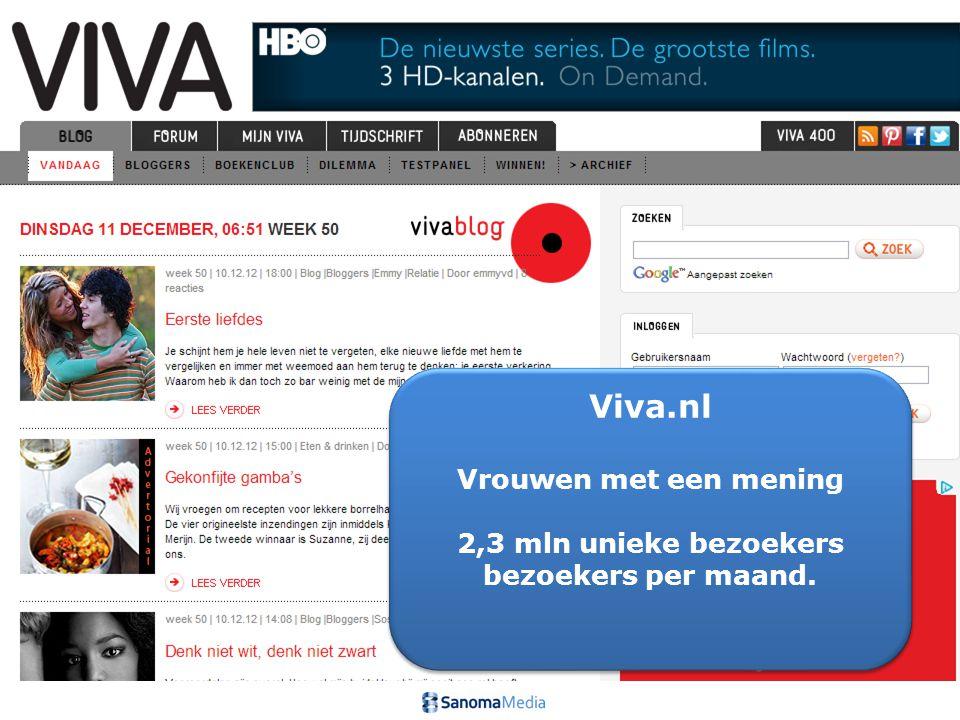 6Presentation name / Author Viva.nl Vrouwen met een mening 2,3 mln unieke bezoekers bezoekers per maand. Viva.nl Vrouwen met een mening 2,3 mln unieke