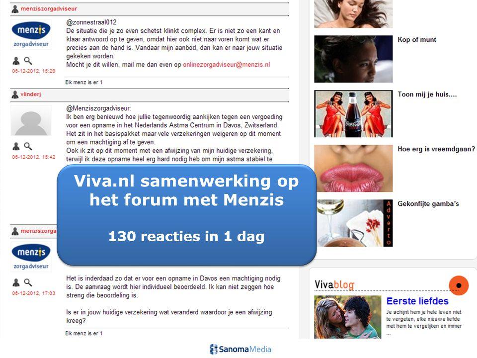 7Presentation name / Author Viva.nl samenwerking op het forum met Menzis 130 reacties in 1 dag Viva.nl samenwerking op het forum met Menzis 130 reacties in 1 dag