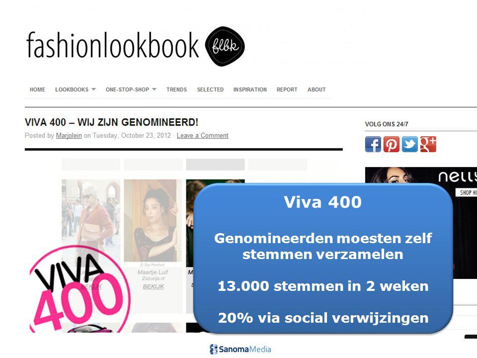 8Presentation name / Author Viva 400 Genomineerden moesten zelf stemmen verzamelen 13.000 stemmen in 2 weken 20% via social verwijzingen Viva 400 Genomineerden moesten zelf stemmen verzamelen 13.000 stemmen in 2 weken 20% via social verwijzingen