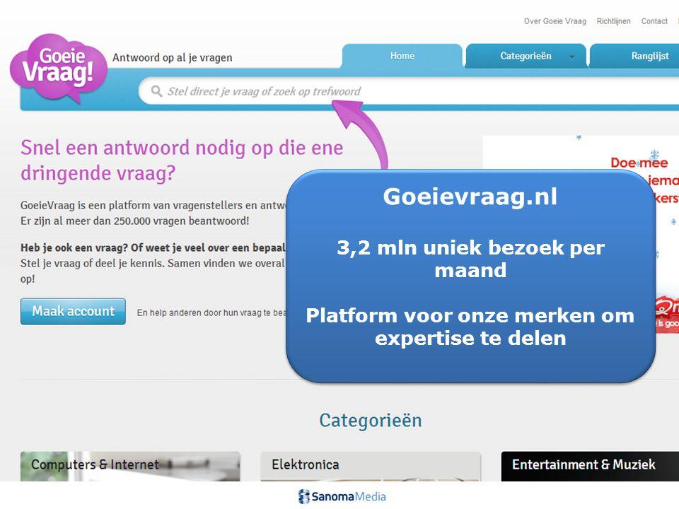 9Presentation name / Author Goeievraag.nl 3,2 mln uniek bezoek per maand Platform voor onze merken om expertise te delen Goeievraag.nl 3,2 mln uniek bezoek per maand Platform voor onze merken om expertise te delen