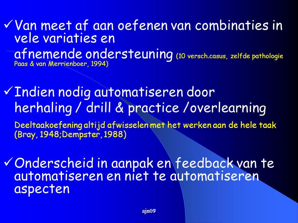 ajn07 Van meet af aan oefenen van combinaties in vele variaties en afnemende ondersteuning (10 versch.casus, zelfde pathologie Paas & van Merrienboer, 1994) Indien nodig automatiseren door herhaling / drill & practice /overlearning Deeltaakoefening altijd afwisselen met het werken aan de hele taak (Bray, 1948;Dempster, 1988) Onderscheid in aanpak en feedback van te automatiseren en niet te automatiseren aspecten ajn09