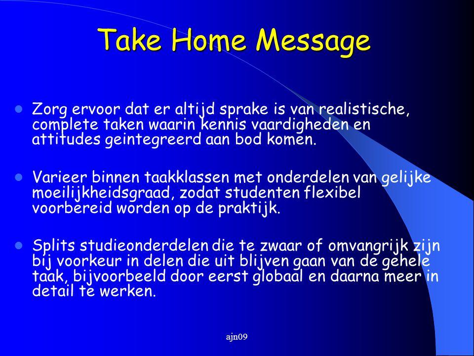 Take Home Message Zorg ervoor dat er altijd sprake is van realistische, complete taken waarin kennis vaardigheden en attitudes geintegreerd aan bod komen.