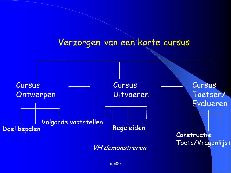 Verzorgen van een korte cursus Cursus Ontwerpen Cursus Uitvoeren Cursus Toetsen/ Evalueren Begeleiden Doel bepalen Volgorde vaststellen Constructie Toets/Vragenlijst VH demonstreren