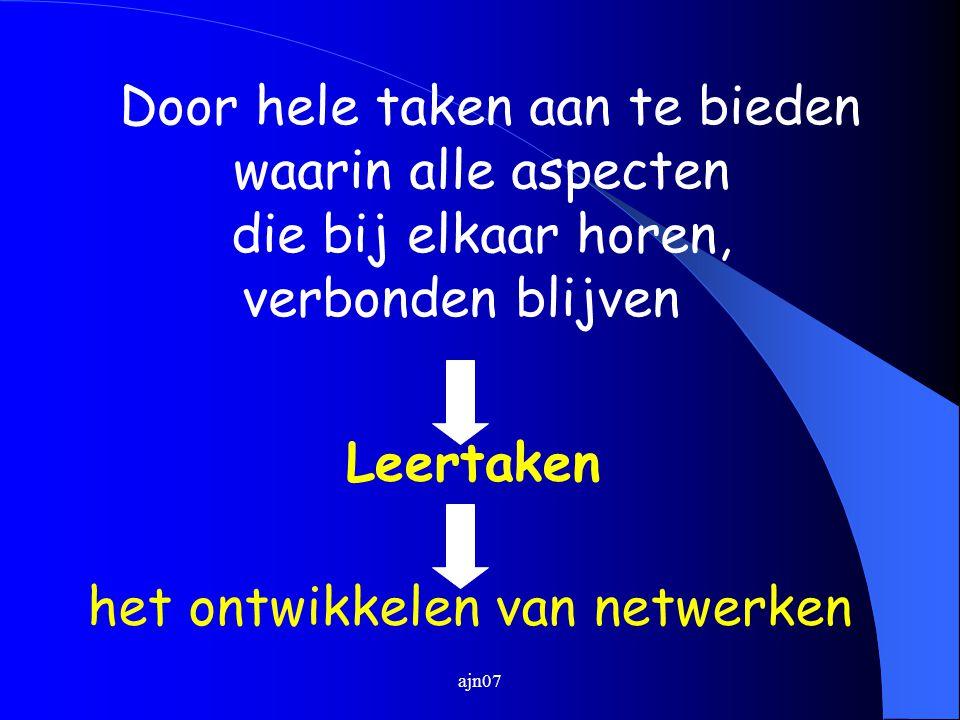 ajn07 Door hele taken aan te bieden waarin alle aspecten die bij elkaar horen, verbonden blijven Leertaken het ontwikkelen van netwerken