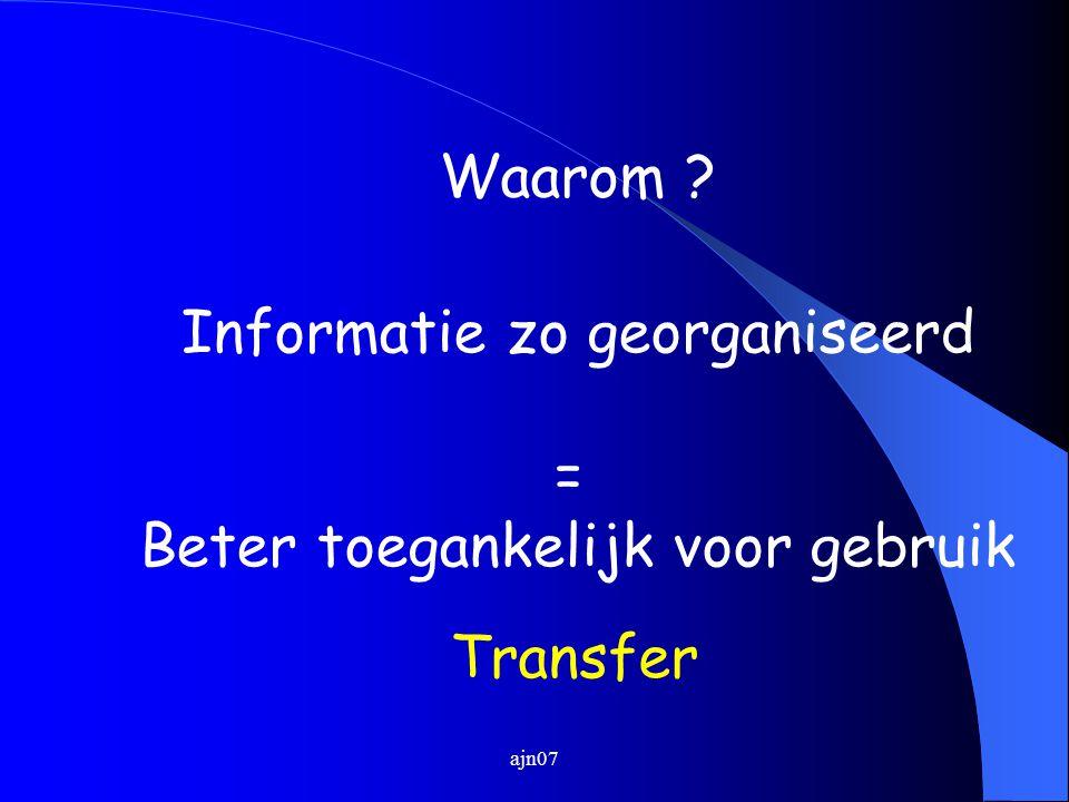 ajn07 Waarom ? Informatie zo georganiseerd = Beter toegankelijk voor gebruik Transfer