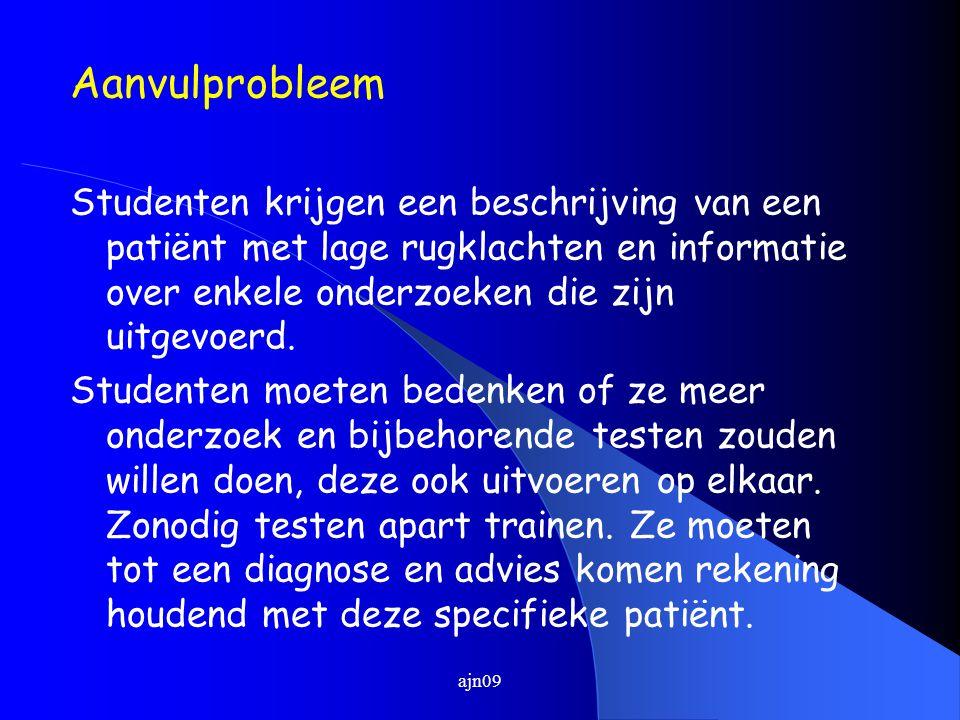 Aanvulprobleem Studenten krijgen een beschrijving van een patiënt met lage rugklachten en informatie over enkele onderzoeken die zijn uitgevoerd.