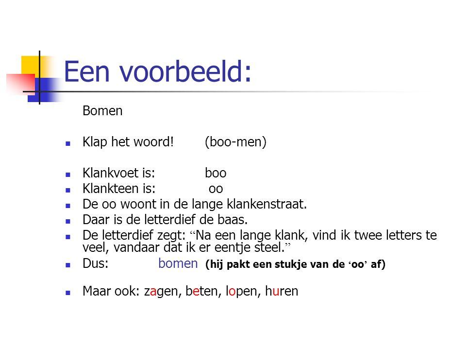 Een voorbeeld: Bomen Klap het woord!(boo-men) Klankvoet is:boo Klankteen is: oo De oo woont in de lange klankenstraat. Daar is de letterdief de baas.
