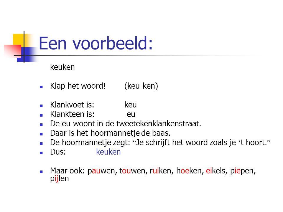 Een voorbeeld: keuken Klap het woord!(keu-ken) Klankvoet is:keu Klankteen is: eu De eu woont in de tweetekenklankenstraat. Daar is het hoormannetje de