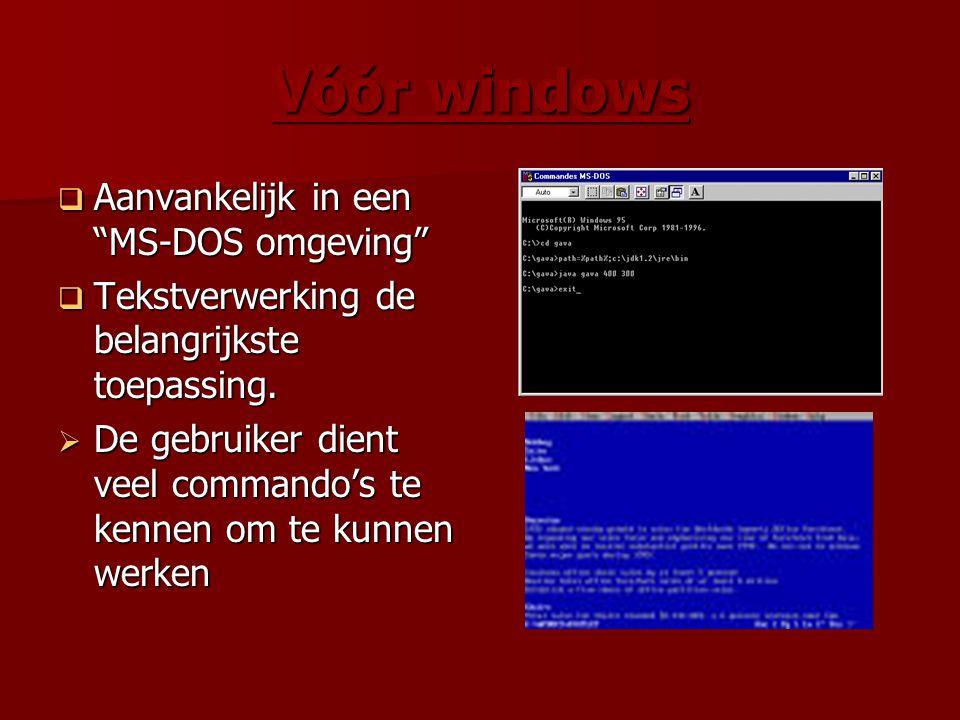 """Vóór windows  Aanvankelijk in een """"MS-DOS omgeving""""  Tekstverwerking de belangrijkste toepassing.  De gebruiker dient veel commando's te kennen om"""