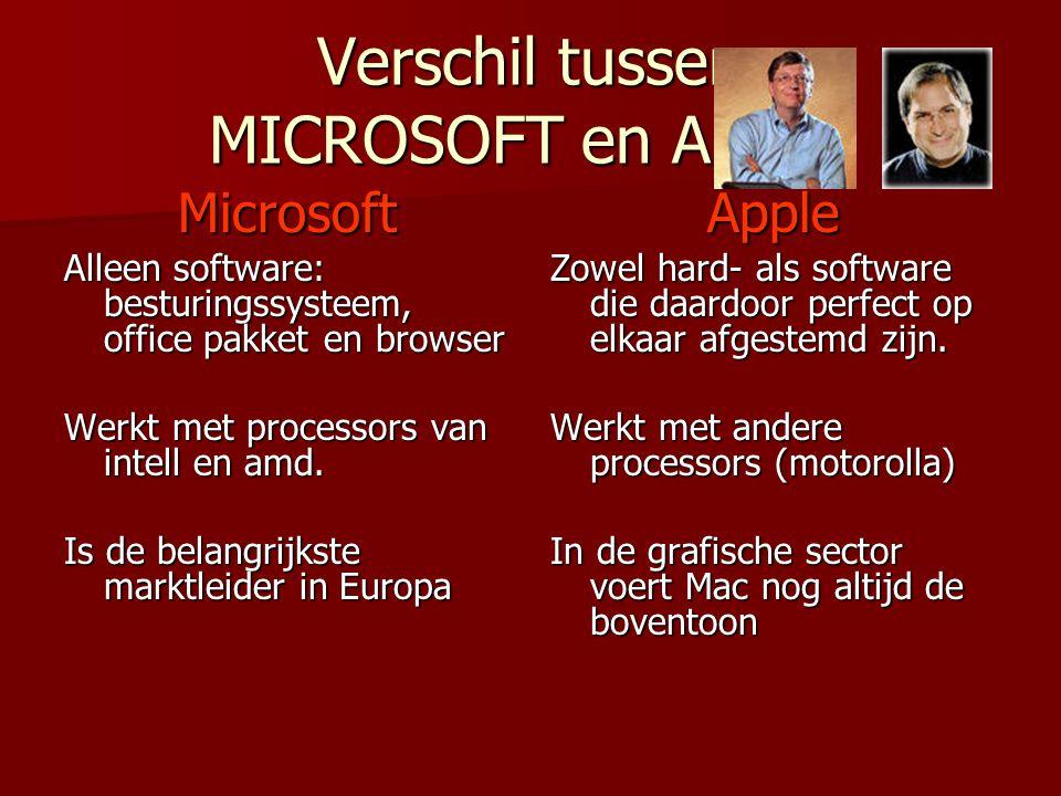 Verschil tussen MICROSOFT en APPLE Microsoft Alleen software: besturingssysteem, office pakket en browser Werkt met processors van intell en amd. Is d