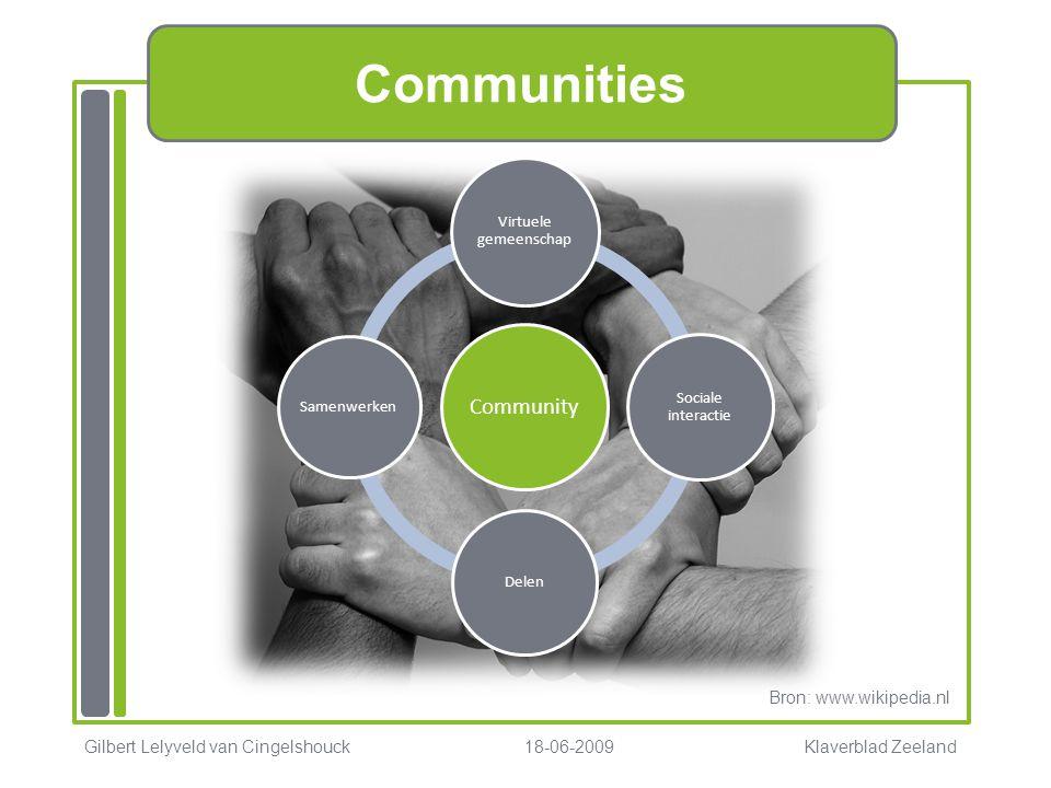 Communities Community Virtuele gemeenschap Sociale interactie Delen Samenwerken Gilbert Lelyveld van Cingelshouck 18-06-2009 Klaverblad Zeeland Bron: www.wikipedia.nl