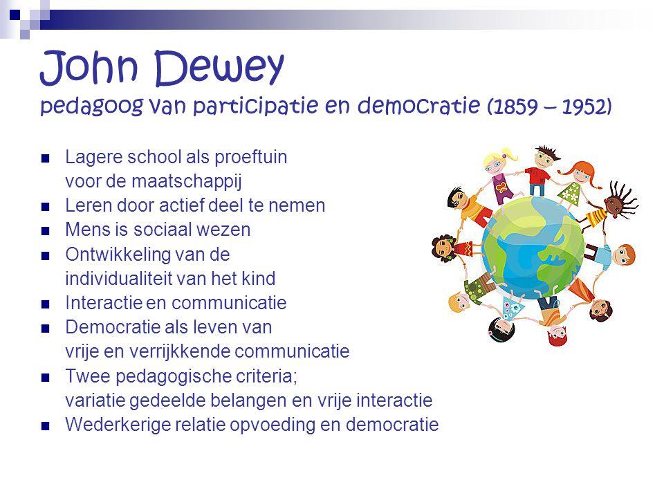 John Dewey pedagoog van participatie en democratie (1859 – 1952) Lagere school als proeftuin voor de maatschappij Leren door actief deel te nemen Mens