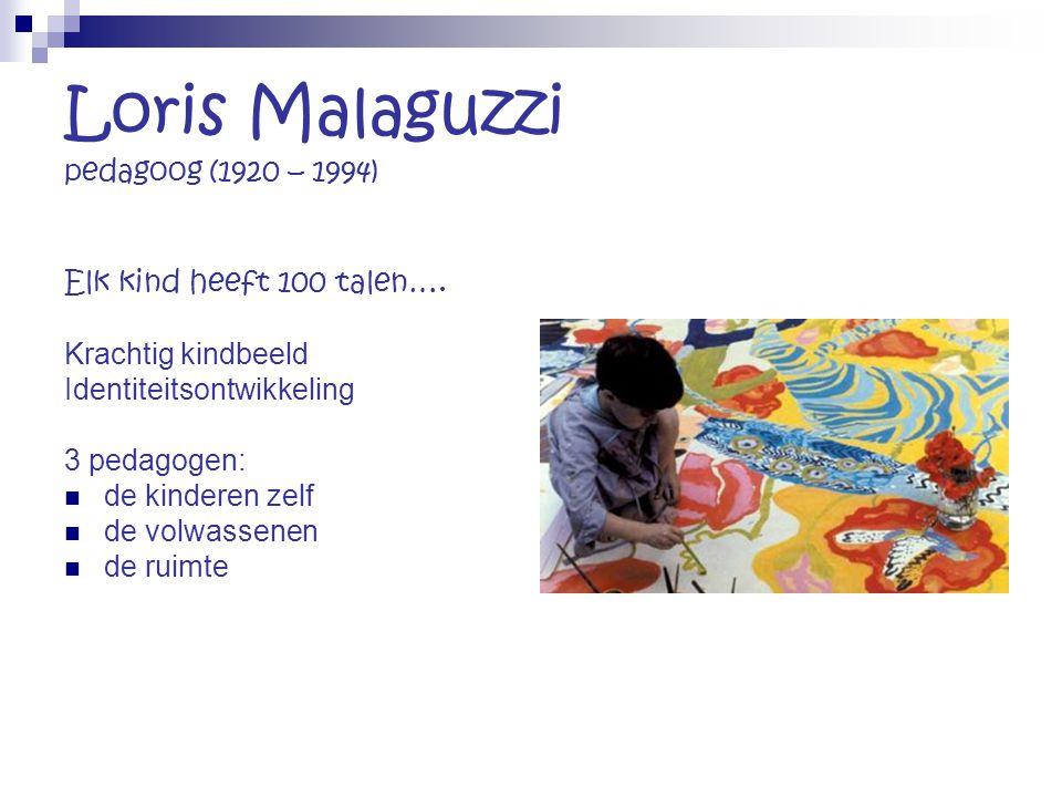 Loris Malaguzzi pedagoog (1920 – 1994) Elk kind heeft 100 talen…. Krachtig kindbeeld Identiteitsontwikkeling 3 pedagogen: de kinderen zelf de volwasse