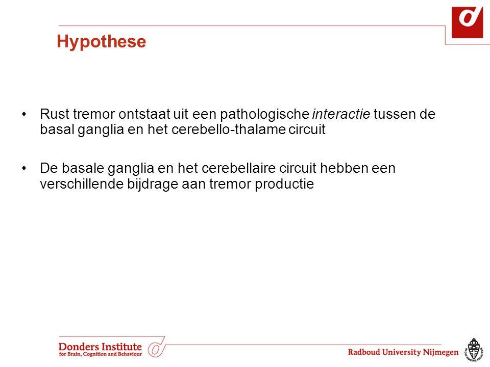 Hypothese Rust tremor ontstaat uit een pathologische interactie tussen de basal ganglia en het cerebello-thalame circuit De basale ganglia en het cere