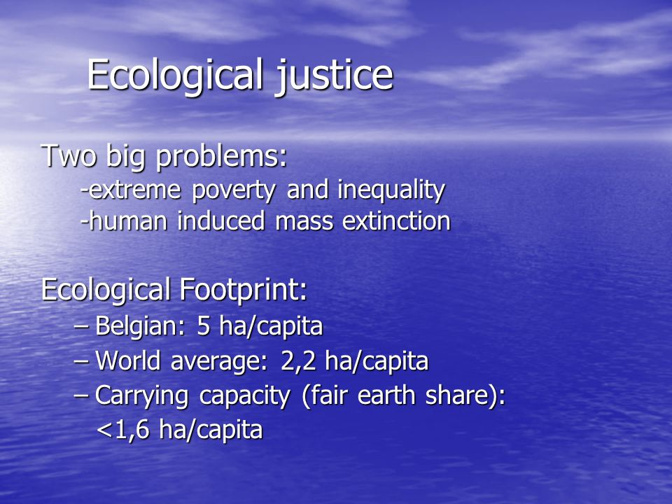Ecological justice Two big problems: -extreme poverty and inequality -human induced mass extinction Ecological Footprint: –Belgian: 5 ha/capita –World