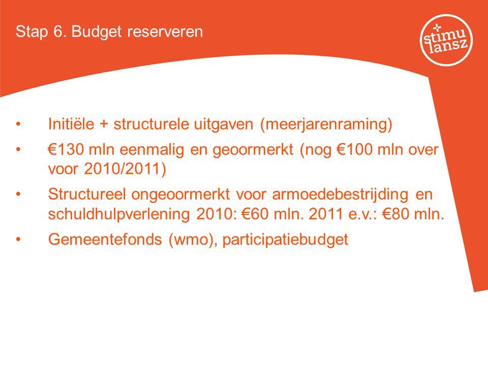 Initiële + structurele uitgaven (meerjarenraming) €130 mln eenmalig en geoormerkt (nog €100 mln over voor 2010/2011) Structureel ongeoormerkt voor arm