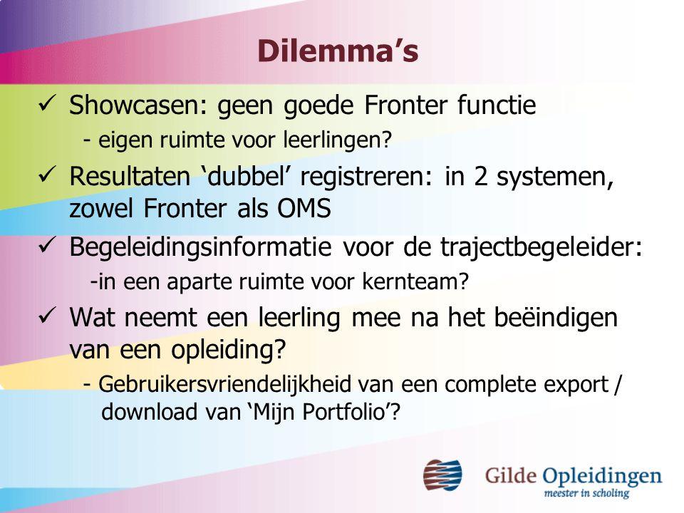 Dilemma's Showcasen: geen goede Fronter functie - eigen ruimte voor leerlingen? Resultaten 'dubbel' registreren: in 2 systemen, zowel Fronter als OMS