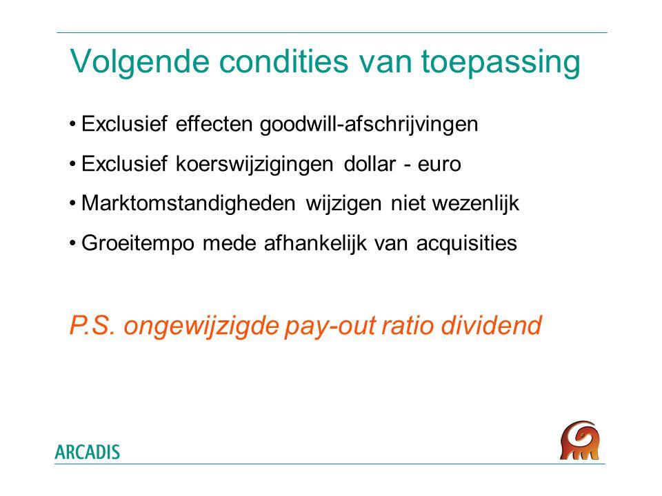 Volgende condities van toepassing Exclusief effecten goodwill-afschrijvingen Exclusief koerswijzigingen dollar - euro Marktomstandigheden wijzigen niet wezenlijk Groeitempo mede afhankelijk van acquisities P.S.