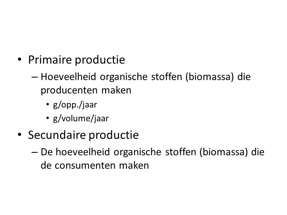 Primaire productie – Hoeveelheid organische stoffen (biomassa) die producenten maken g/opp./jaar g/volume/jaar Secundaire productie – De hoeveelheid o