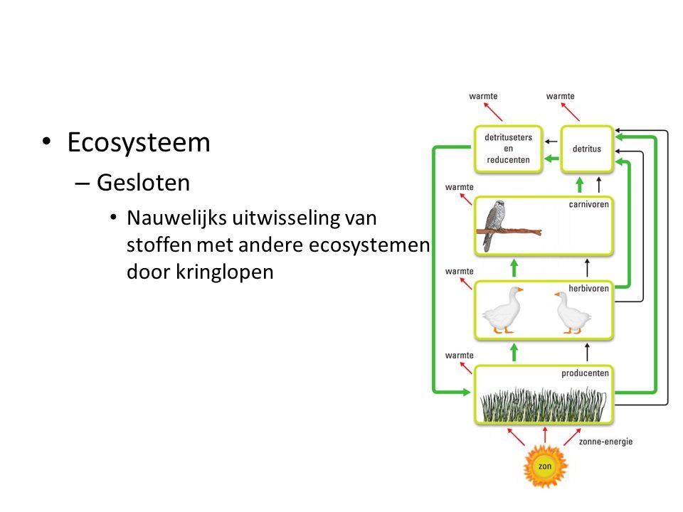 Ecosysteem – Gesloten Nauwelijks uitwisseling van stoffen met andere ecosystemen door kringlopen