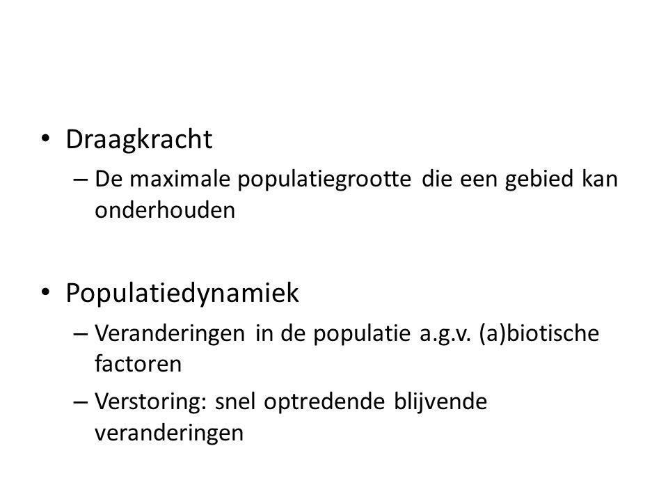 Draagkracht – De maximale populatiegrootte die een gebied kan onderhouden Populatiedynamiek – Veranderingen in de populatie a.g.v. (a)biotische factor