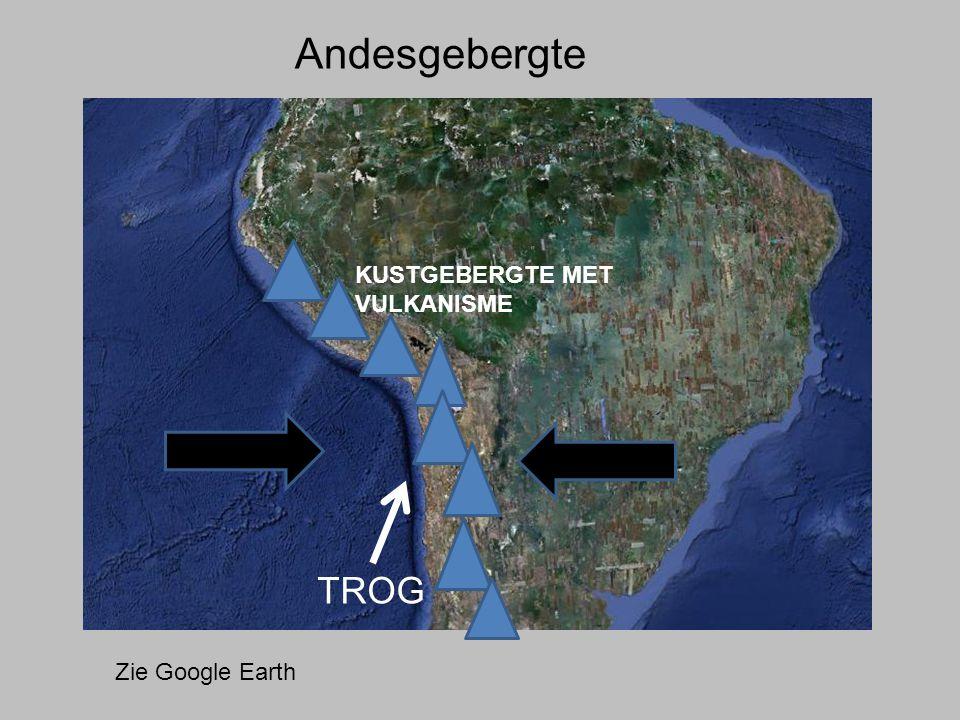 TROG Andesgebergte Zie Google Earth KUSTGEBERGTE MET VULKANISME