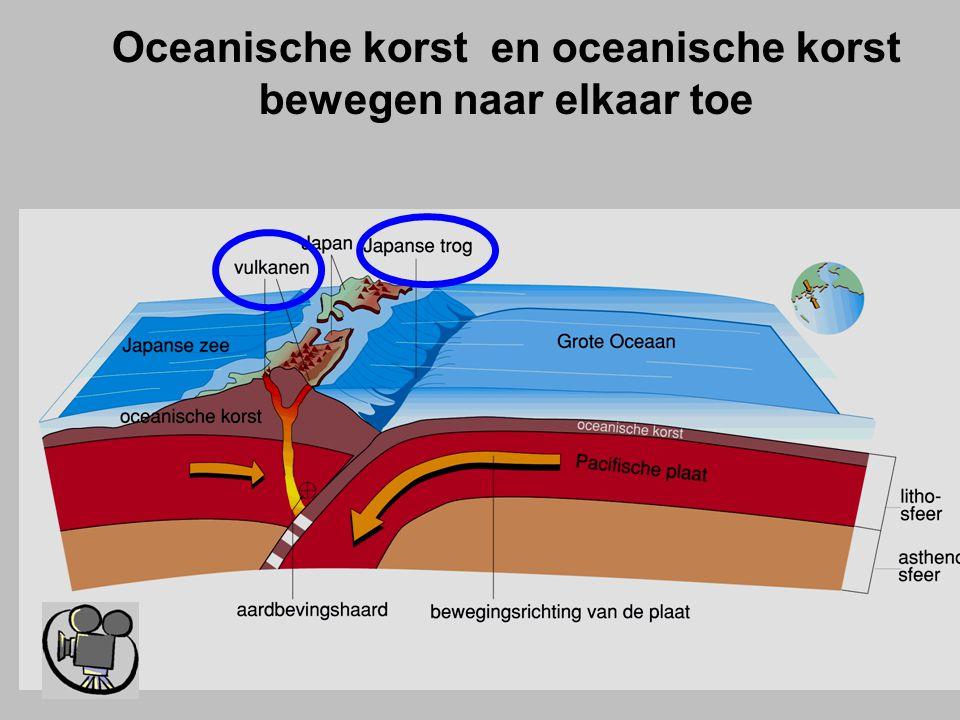 Oceanische korst en oceanische korst bewegen naar elkaar toe