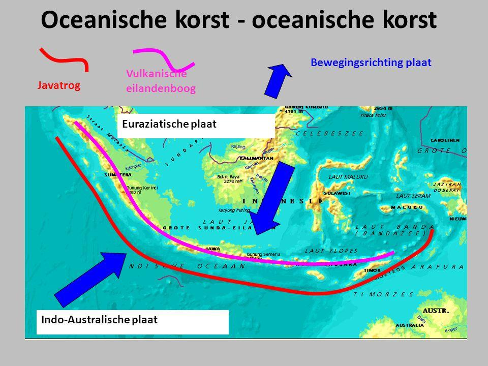 Euraziatische plaat Indo-Australische plaat Javatrog Vulkanische eilandenboog Oceanische korst - oceanische korst Bewegingsrichting plaat