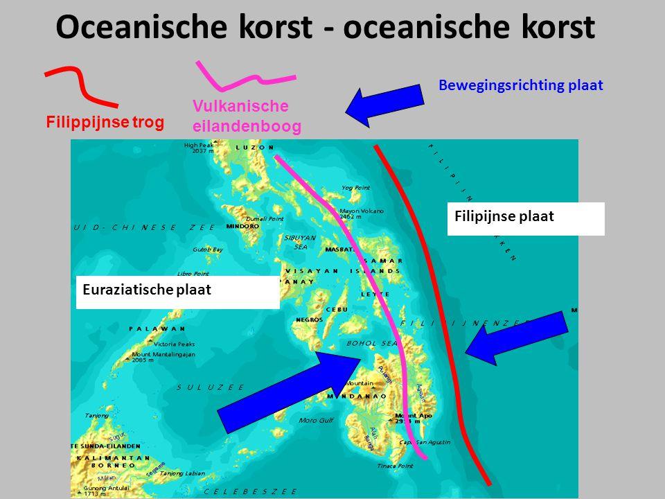 Euraziatische plaat Filipijnse plaat Filippijnse trog Vulkanische eilandenboog Oceanische korst - oceanische korst Bewegingsrichting plaat