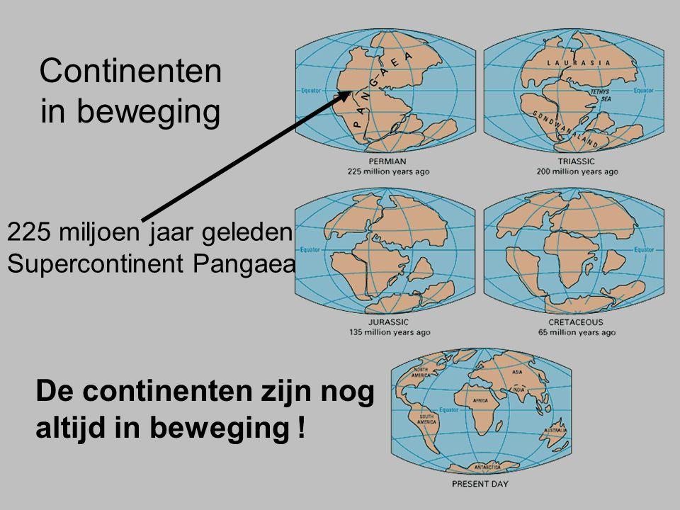 Continenten in beweging 225 miljoen jaar geleden Supercontinent Pangaea De continenten zijn nog altijd in beweging !