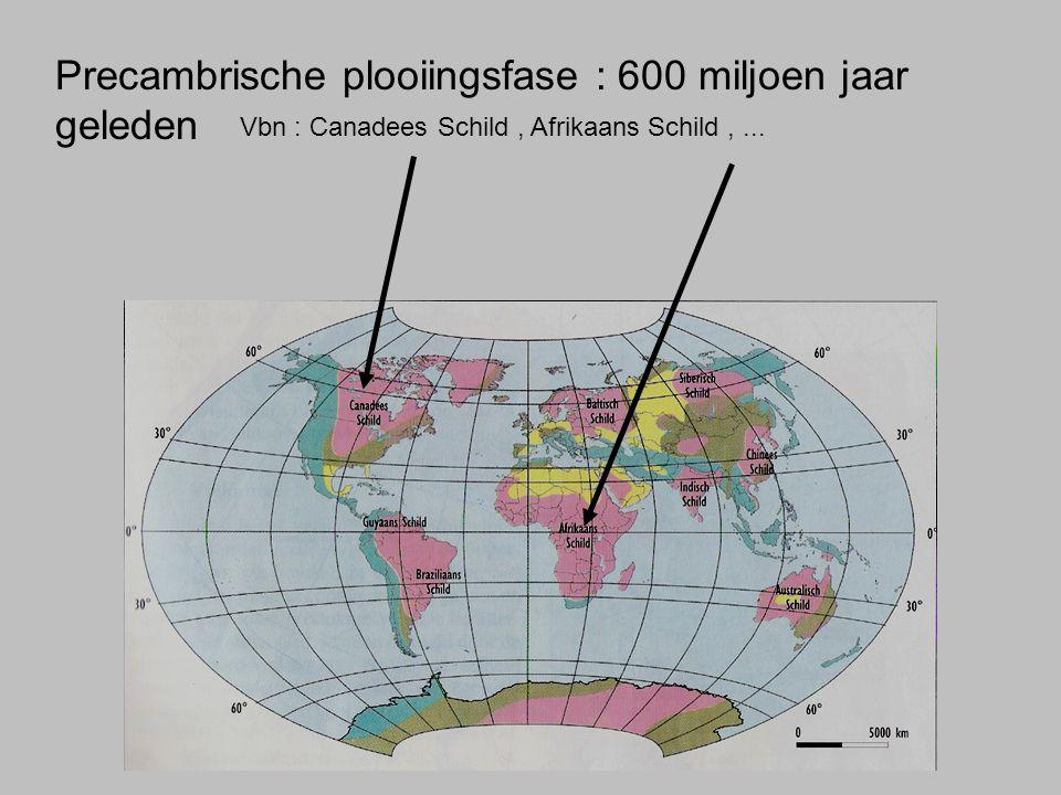 Precambrische plooiingsfase : 600 miljoen jaar geleden Vbn : Canadees Schild, Afrikaans Schild,...