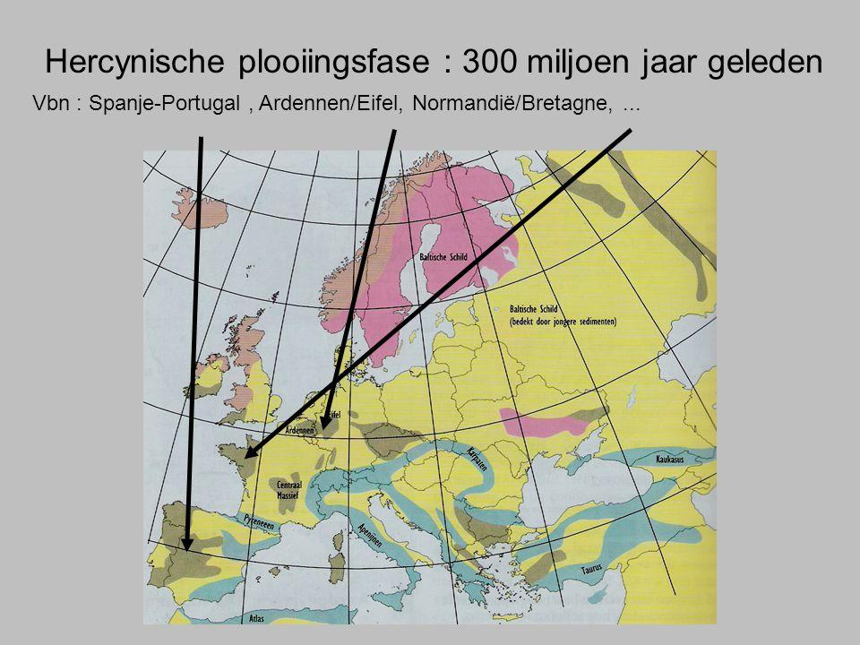 Hercynische plooiingsfase : 300 miljoen jaar geleden Vbn : Spanje-Portugal, Ardennen/Eifel, Normandië/Bretagne,...