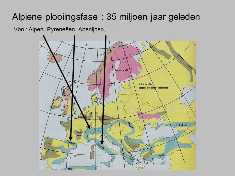 Alpiene plooiingsfase : 35 miljoen jaar geleden Vbn : Alpen, Pyreneëen, Apenijnen,...