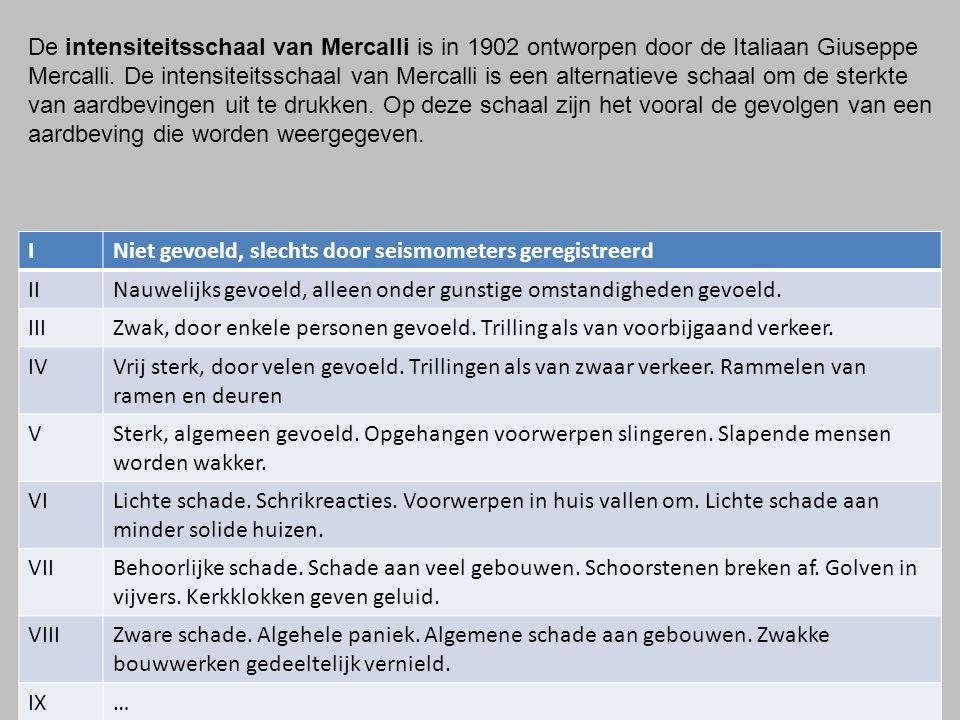 De intensiteitsschaal van Mercalli is in 1902 ontworpen door de Italiaan Giuseppe Mercalli.