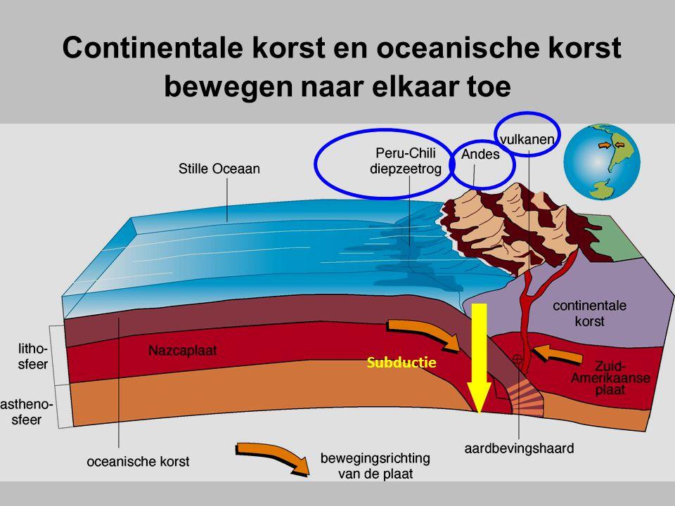 Bij de botsing tussen de 2 platen zal de oceanische plaat onder de continentale plaat duiken omdat ze zwaarder is : SUBDUCTIE.