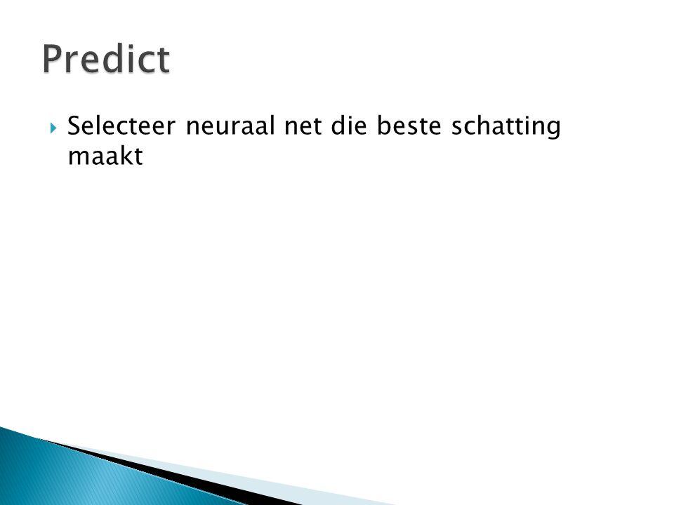  Selecteer neuraal net die beste schatting maakt