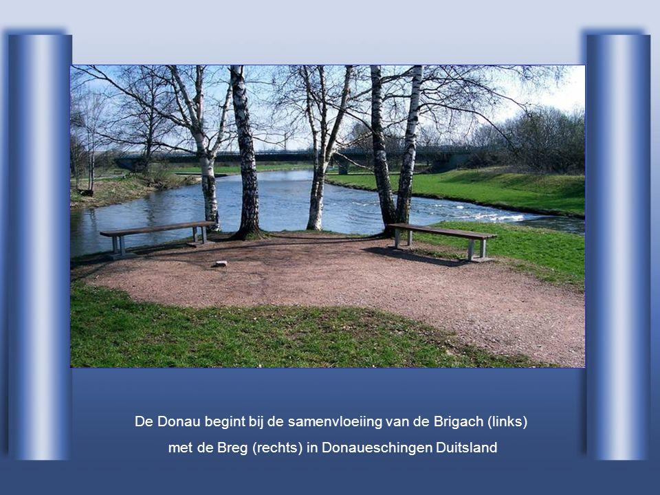 De Donau begint bij de samenvloeiing van de Brigach (links) met de Breg (rechts) in Donaueschingen Duitsland