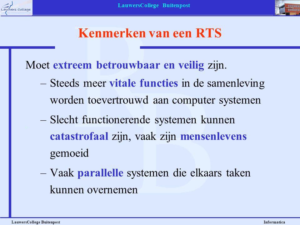 LauwersCollege Buitenpost LauwersCollege Buitenpost Informatica Kenmerken van een RTS Moet extreem betrouwbaar en veilig zijn. –Steeds meer vitale fun