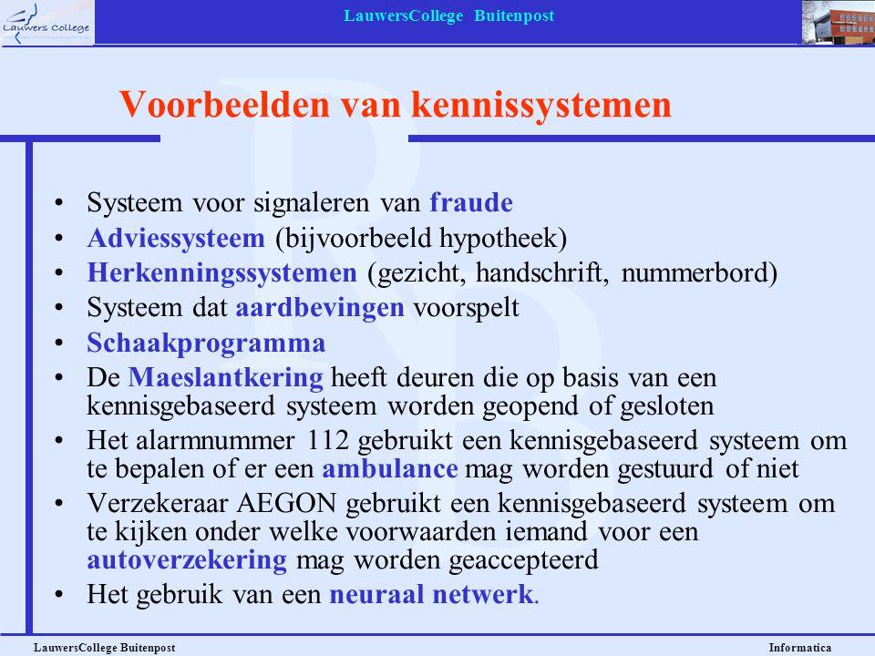 LauwersCollege Buitenpost LauwersCollege Buitenpost Informatica Systeem voor signaleren van fraude Adviessysteem (bijvoorbeeld hypotheek) Herkenningss
