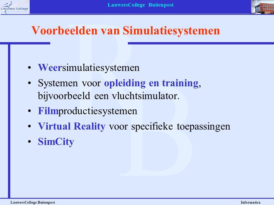 LauwersCollege Buitenpost LauwersCollege Buitenpost Informatica Voorbeelden van Simulatiesystemen Weersimulatiesystemen Systemen voor opleiding en tra