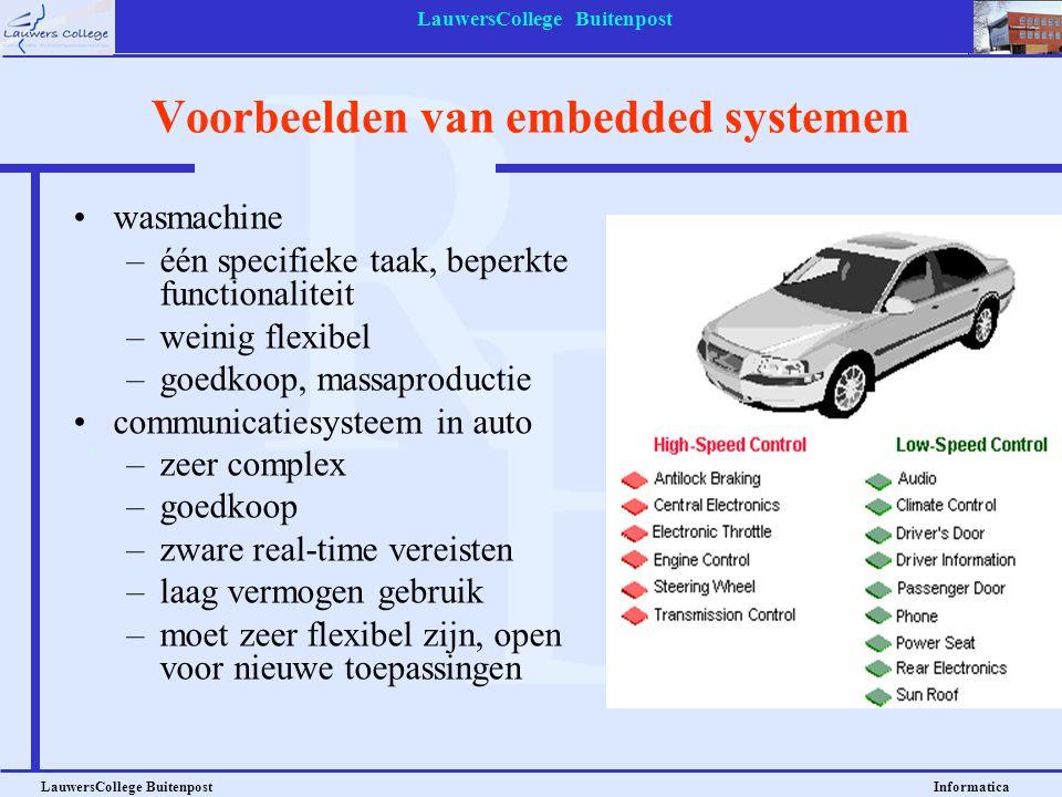 LauwersCollege Buitenpost LauwersCollege Buitenpost Informatica Voorbeelden van embedded systemen wasmachine –één specifieke taak, beperkte functional