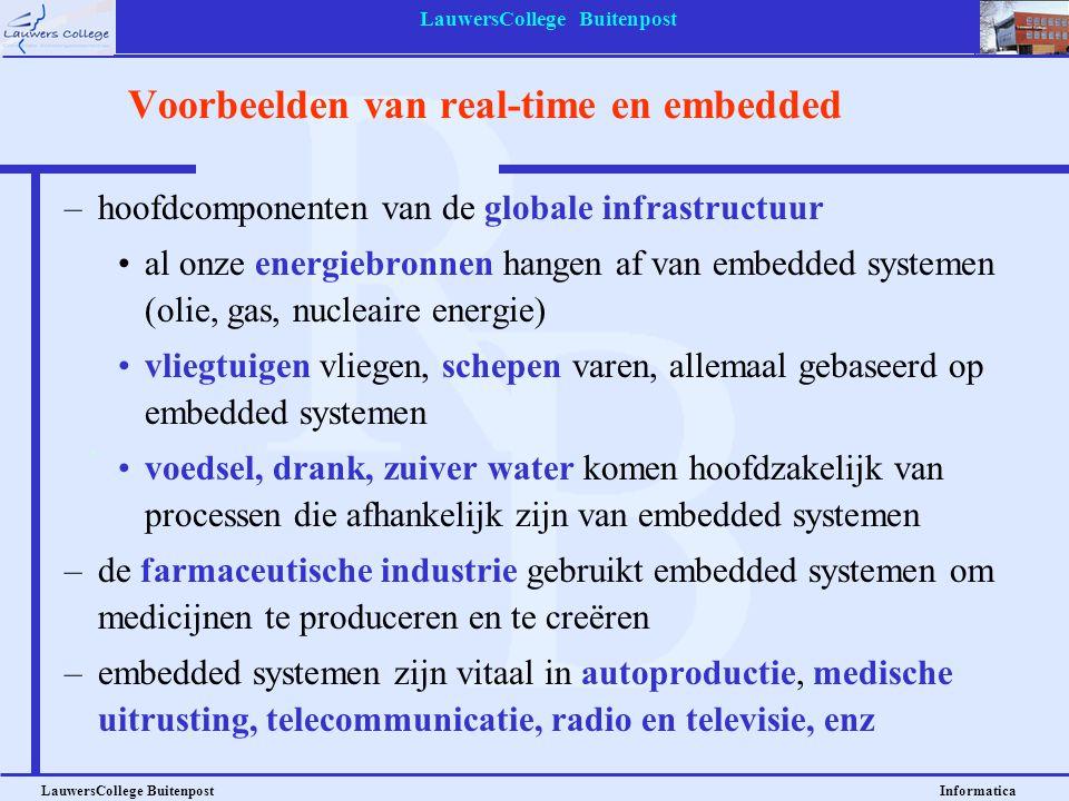 LauwersCollege Buitenpost LauwersCollege Buitenpost Informatica Voorbeelden van real-time en embedded –hoofdcomponenten van de globale infrastructuur