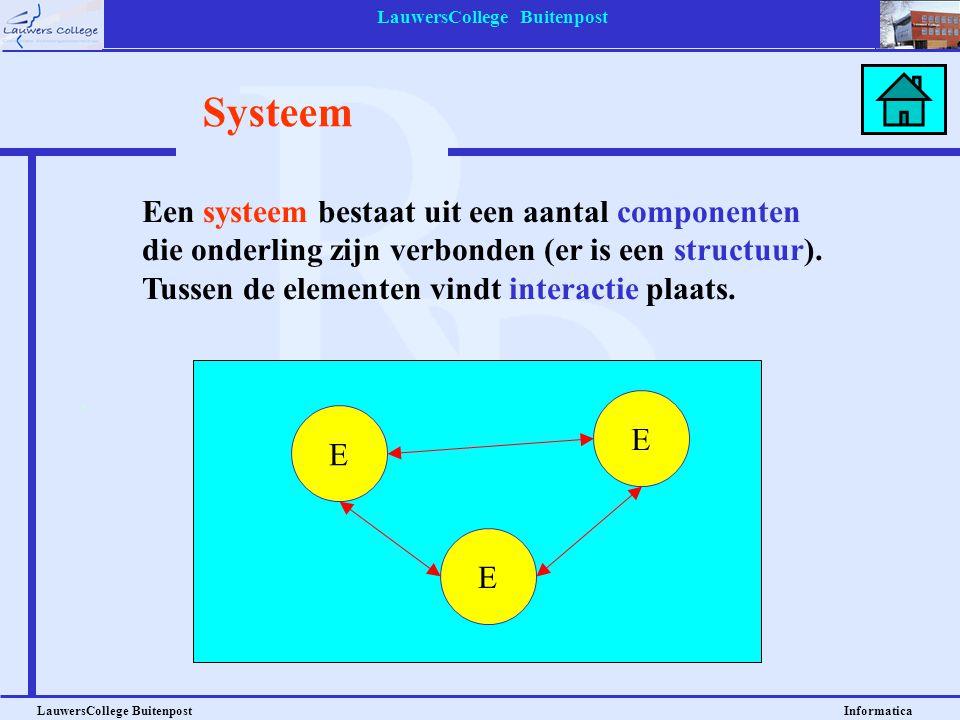 LauwersCollege Buitenpost LauwersCollege Buitenpost Informatica Systeem E E E Een systeem bestaat uit een aantal componenten die onderling zijn verbon