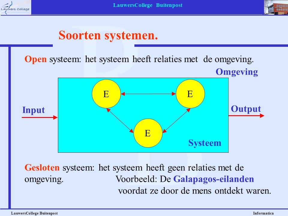 LauwersCollege Buitenpost LauwersCollege Buitenpost Informatica Systeem Omgeving Output Soorten systemen. E E E Input Open systeem: het systeem heeft