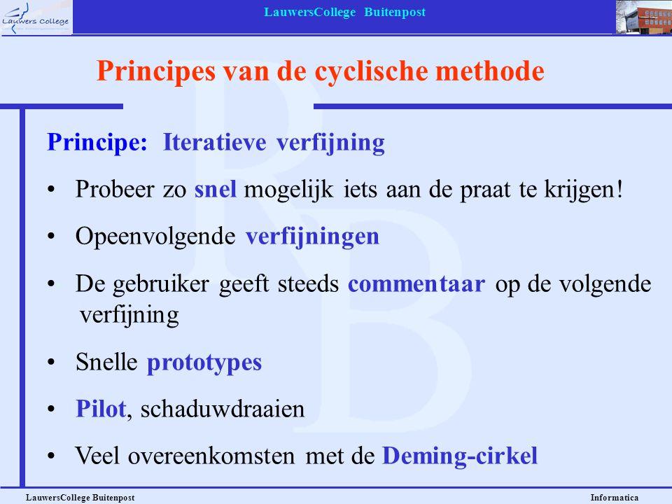 LauwersCollege Buitenpost LauwersCollege Buitenpost Informatica Principes van de cyclische methode Principe: Iteratieve verfijning Probeer zo snel mog
