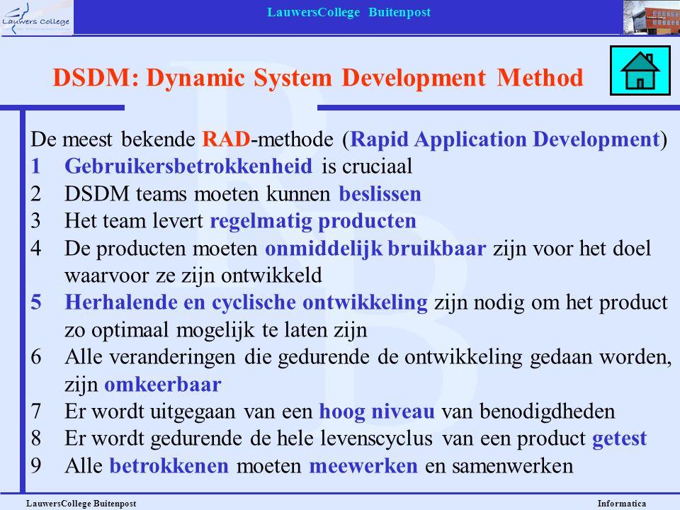 LauwersCollege Buitenpost LauwersCollege Buitenpost Informatica De meest bekende RAD-methode (Rapid Application Development) 1Gebruikersbetrokkenheid